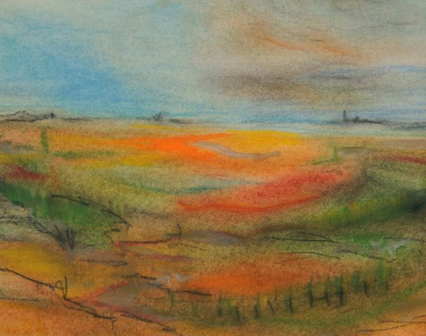 SUMMER VIEW pastel chalk on paper 25 x 35 cm 225 euro