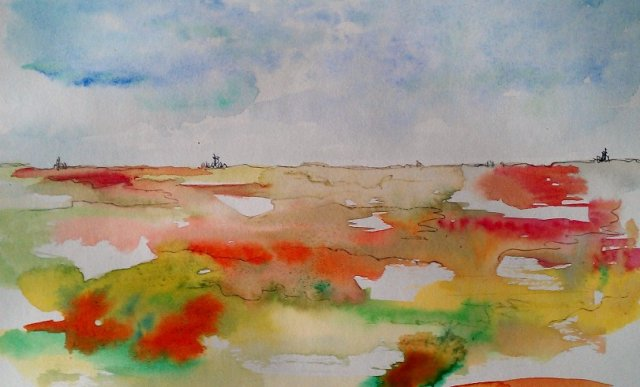 SUMMER VIEW watercolours and ink 20 x 30 cm 185 euro